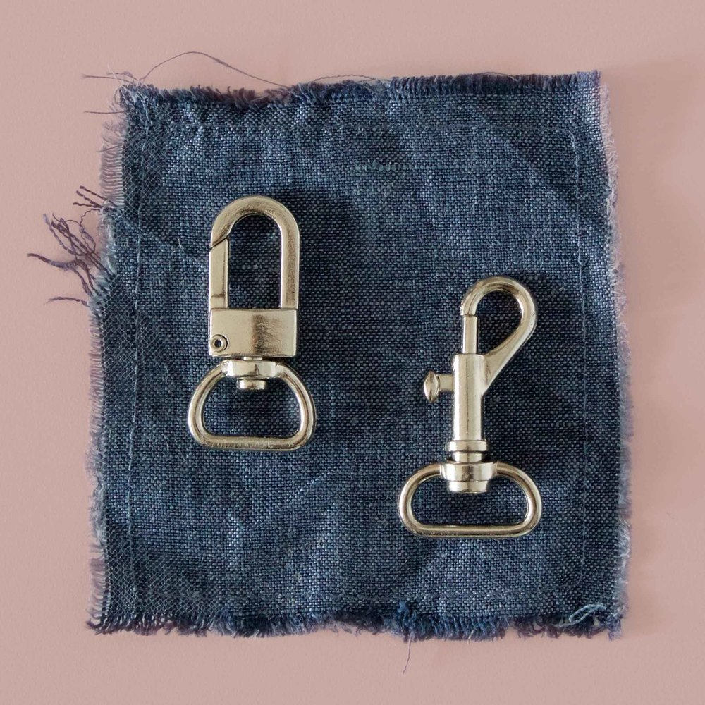 Metal swivel bolt snap types, with different clasps and D rings.  Use for key leash on Reversible Tote Bag.  Instructions on threadandwhisk.com
