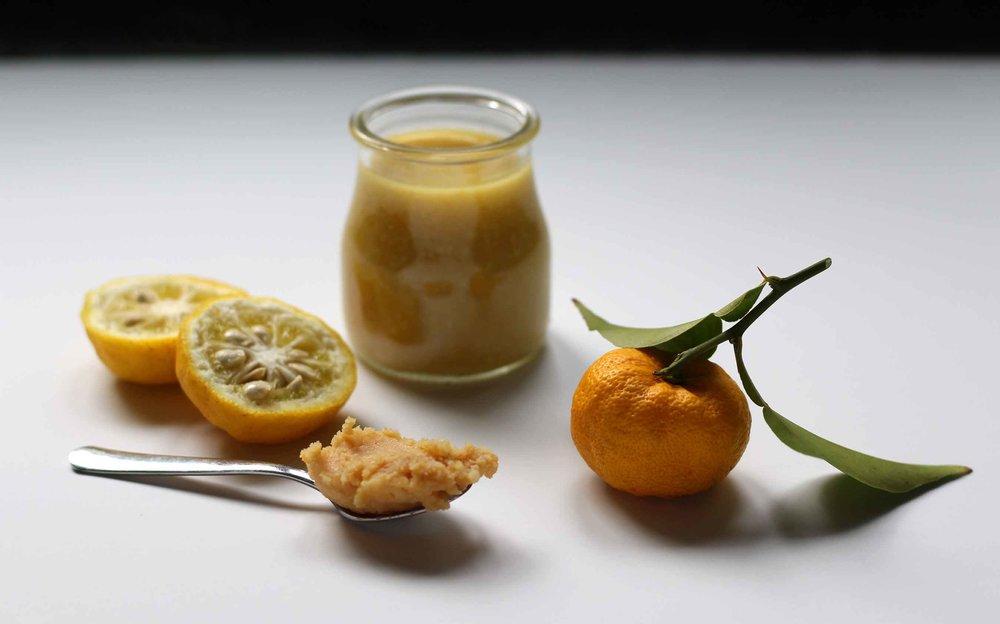 Ingredients for yuzu miso dressing. Recipe from threadandwhisk.com