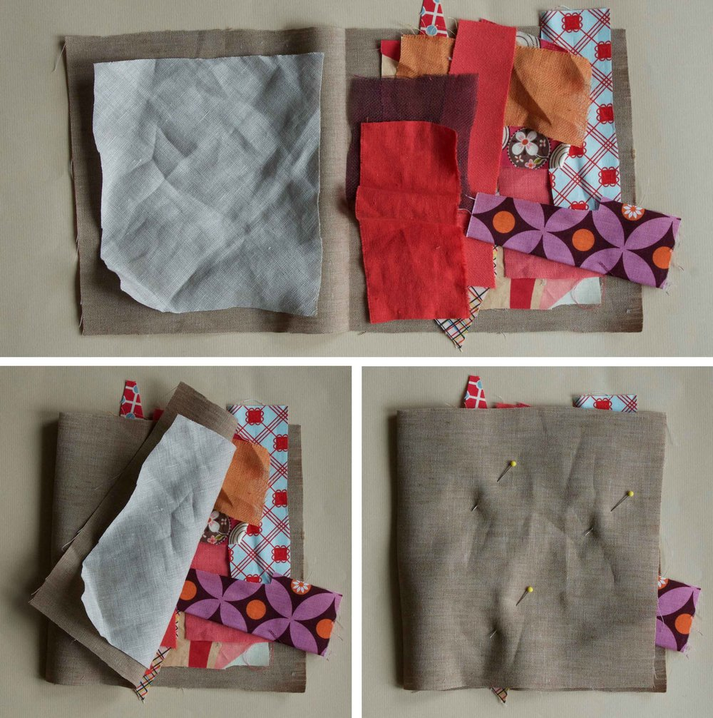 Lay out a bunch of colorful, natural fiber fabric scraps onto a larger piece of fabric, overlapping the layers.  When you have at least 3 layers, fold the larger piece over them, capturing the scraps in the larger piece like a book.  Next, you can quilt and slash them into a design.  Instructions at Thread & Whisk.