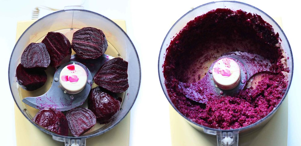 For a fresh take on hummus in winter, puree beets in a food processor, and then add tahini and aquafaba to bind it all together. Add some heat with harissa, and you might forget about chickpea hummus for a moment or two. So pretty on your appetizer plate too.