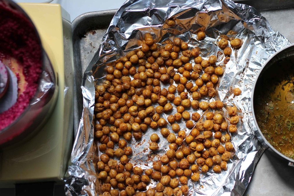 Roasted chickpeas are a delicious, crunchy snack, and a great accompaniment to beet hummus on a winter mezze plate. Add some rosemary honey drizzled feta and warm pita and you are set.