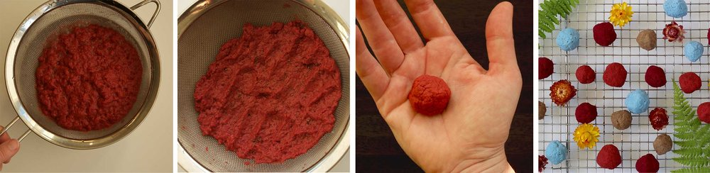 The process of turning soggy paper pulp into seed pebbles. Strain water out of the pulp through a sieve, flatten the pulp and sprinkle seeds on top, then form into balls. Dry on a drying rack and they will be ready to fling into a field.
