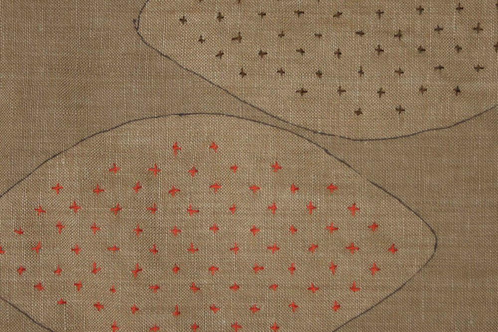 Sashiko style hand-stitching in colorful thread