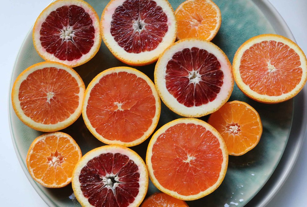 Cutting citrus fruit in half illuminates the many colors and flavors available.  Try Cara Cara, blood orange, Ruby Red grapefruit or others to make a delicious Orange, Fennel and Watercress Salad.  This wil be a beautiful side dish for any meal.