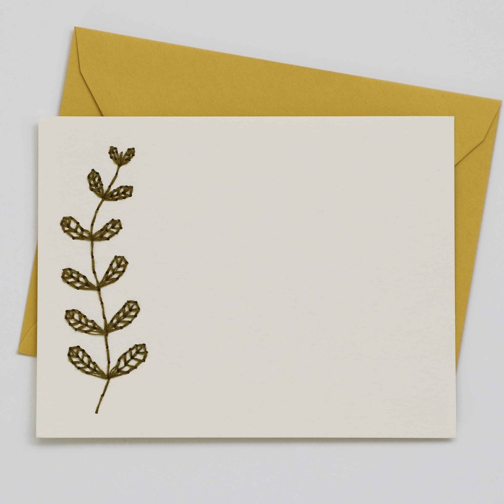Embroidered Foliage Card