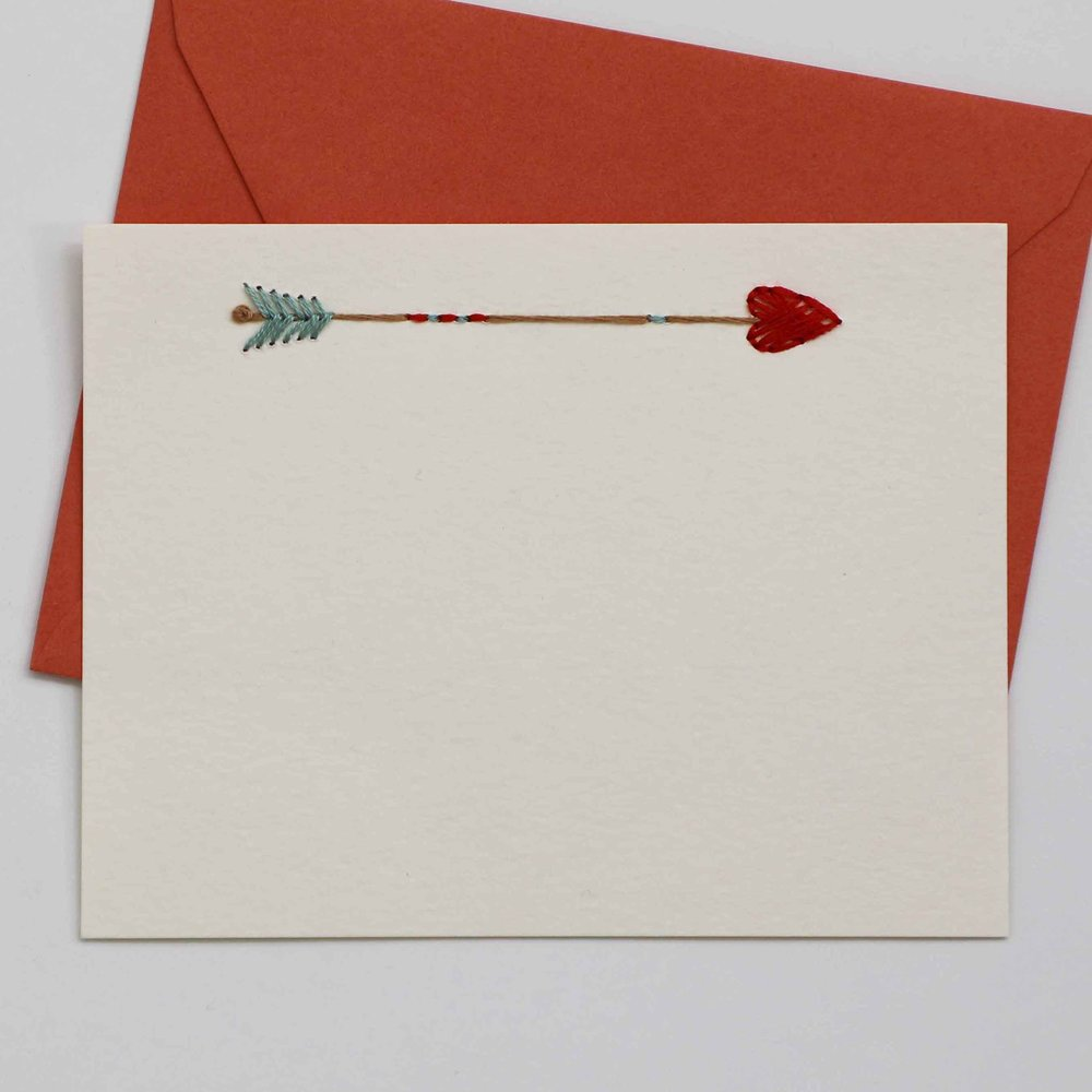 Embroidered Arrow With Heart Card