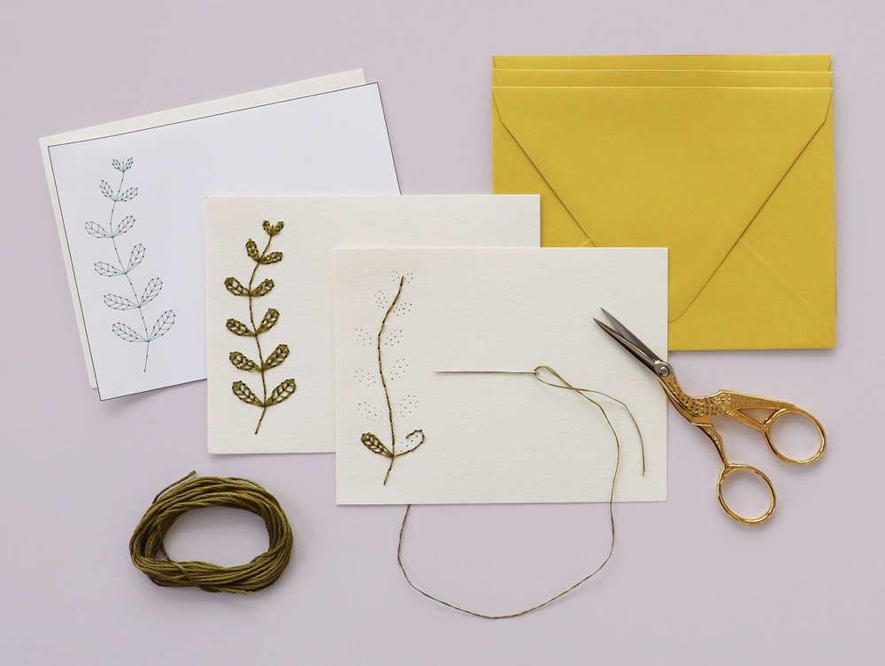 The greeting card embroidery process from printed design template, to stitching, to complete. Contrasting envelopes are the icing on the cake.
