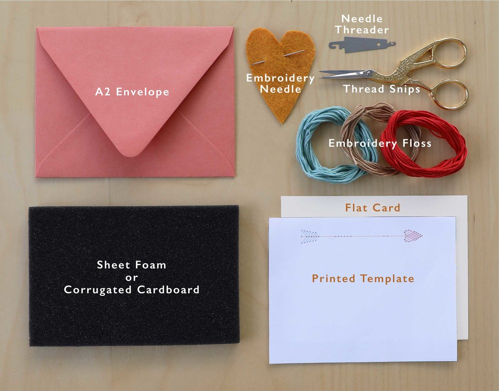 All of the components needed to make a set of embroidered greeting cards. You decide whether they are thank you notes or love notes.