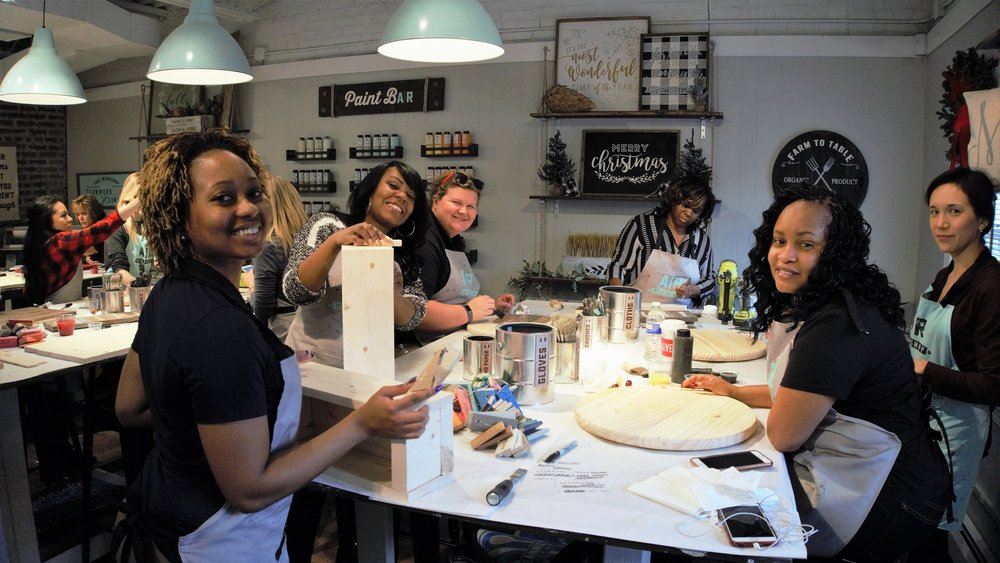 construction women diy paint wood group holiday event coakley williams