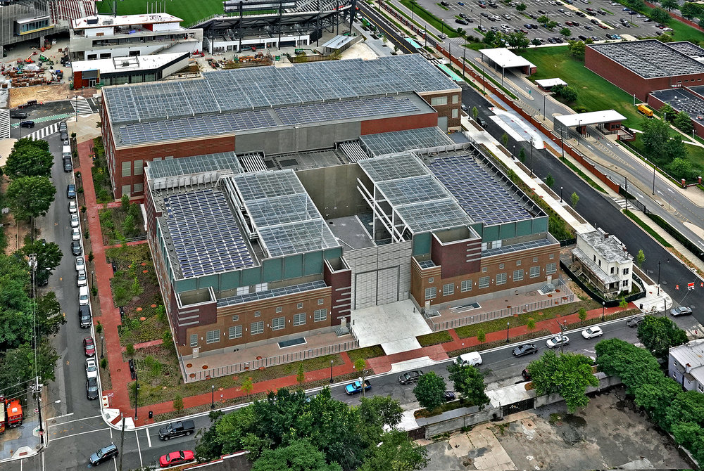 Aerial view of the Coakley and Williams Construction PEPCO Waterfront Substation project including the James C. Dent House (bottom right)