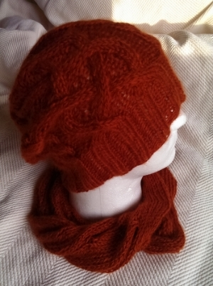 Orange Hat and Cowl Set