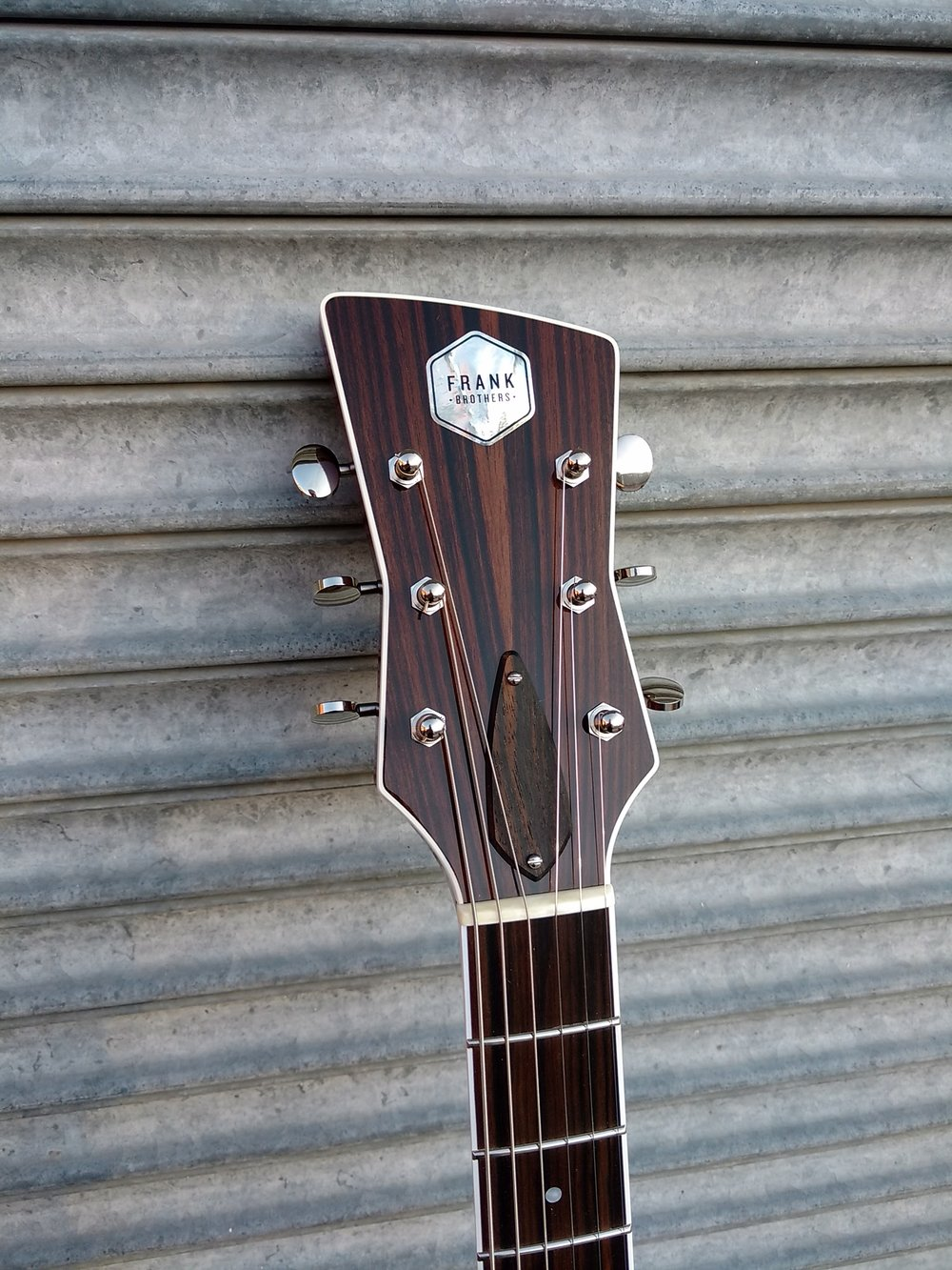 Frank Brothers Signature Model Electric Guitar Macassar Ebony original bow-tie headstock design. Custom built boutique guitars from the Frank Brothers in Toronto.