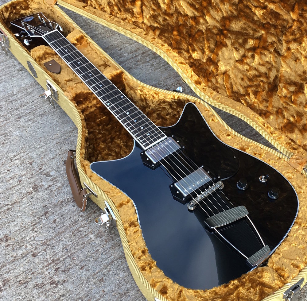 Frank Brothers Signature Model Electric Guitar in Piano Black finish. Custom built boutique guitars from the Frank Brothers in Toronto.