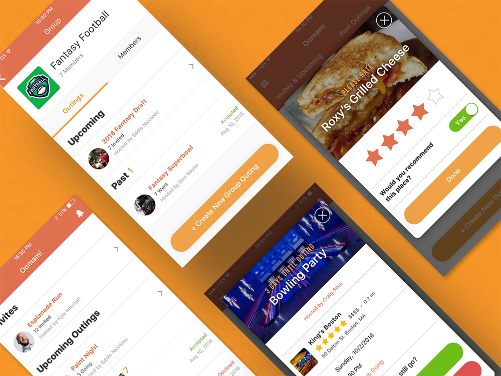 Oomami Social Event Planning App Design