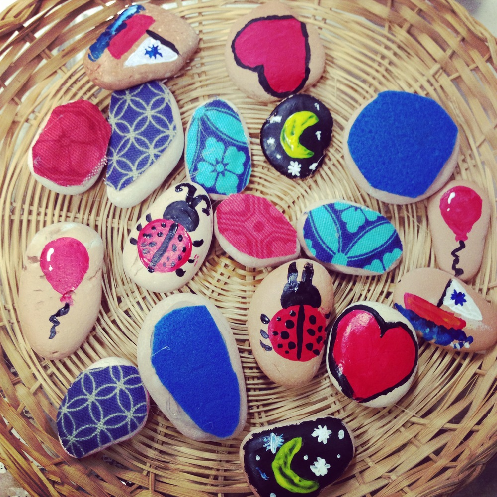 Creative pebbles made during workshop