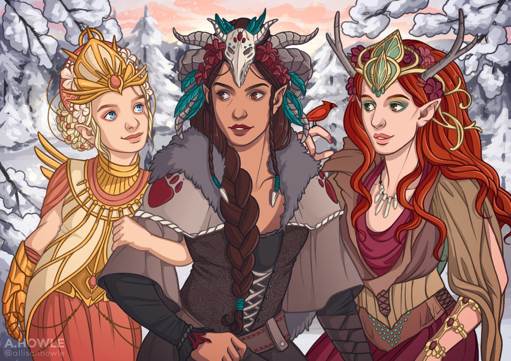 """""""Women of Vox Machina, Winter's Crest Festival"""" Personal piece based on characters from Critical Role."""