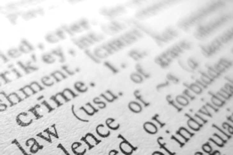 Dictionary with focus on the word crime