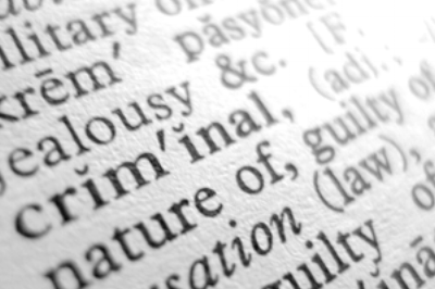 Dictionary with focus on the word criminal
