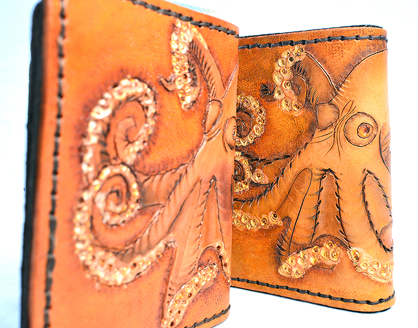 HAND-TOOLED LEATHER WALLET: OCTOPUS MOTIF