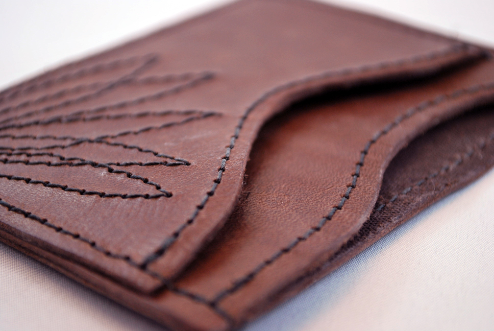 SLIM LEATHER WALLET   - HAND CUT & STITCHED