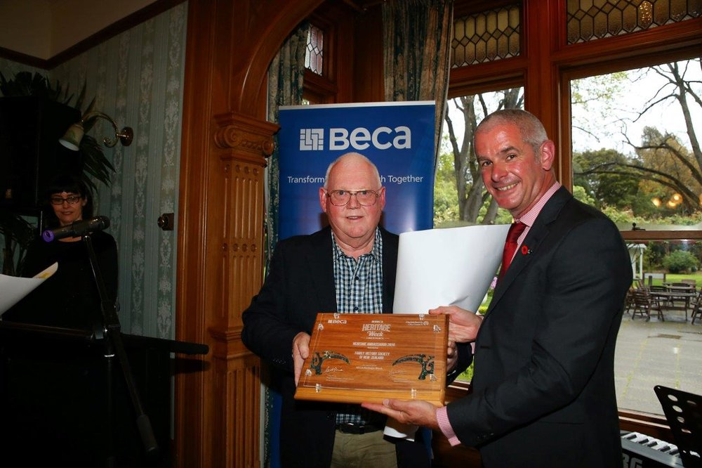 "Our President Kevin White was very happy to accept the 2016 Ambassadors award at the opening evening of BECA heritage Week. The opening event was held at Riccarton House. The award is on display at our rooms at 401A ""The Office"" Papanui Road."