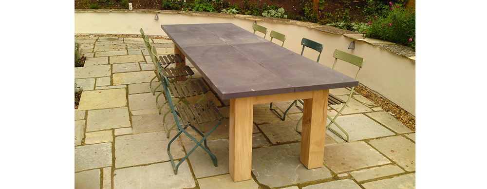 Oak and reclaimed slate table