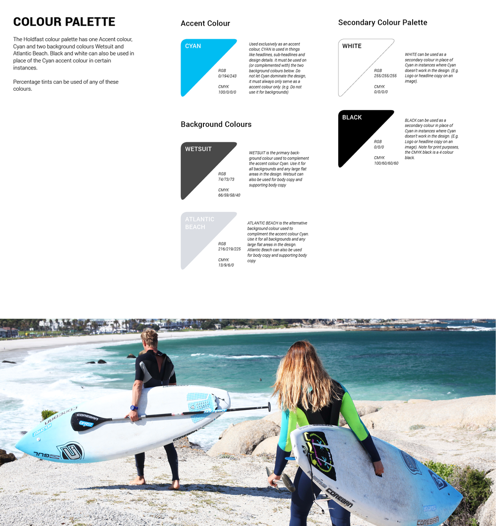Inspiration for Holdfast's new colour scheme came from Cape Town's Atlantic beachs. The contrast of freezing crystal blue water on silver white beaches and heavy granite boulders has a freshness that only a Cape Town surfer would know!
