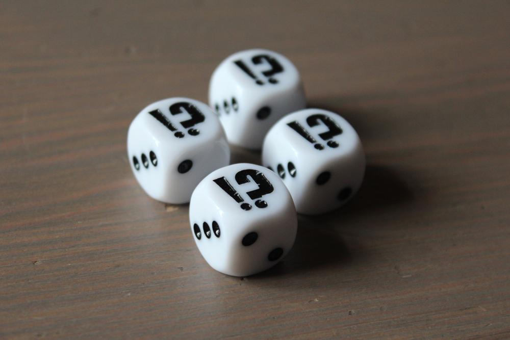 Package!? custom engraved dice.