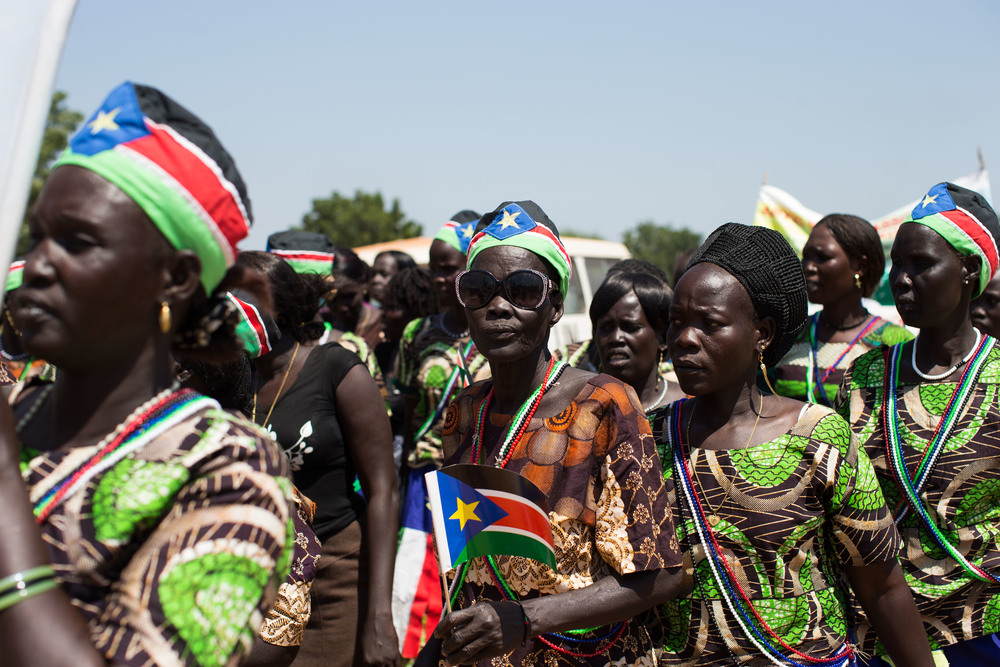 Dinka Ngok women parade through the streets of Abyei the day results are announced.