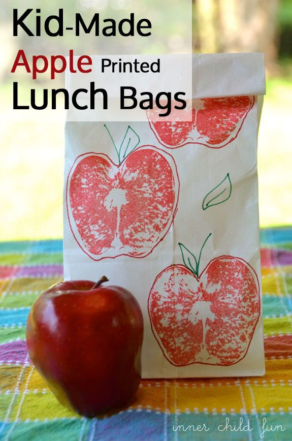 Apple printed lunch bags