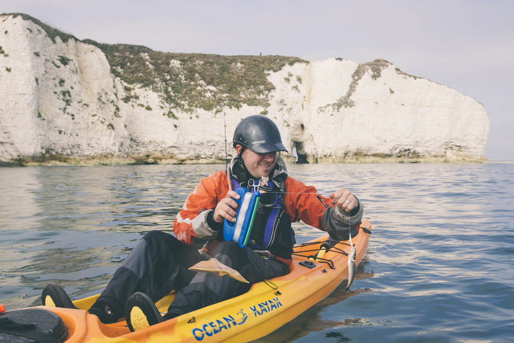 kayak fishing at old harry rocks in dorset