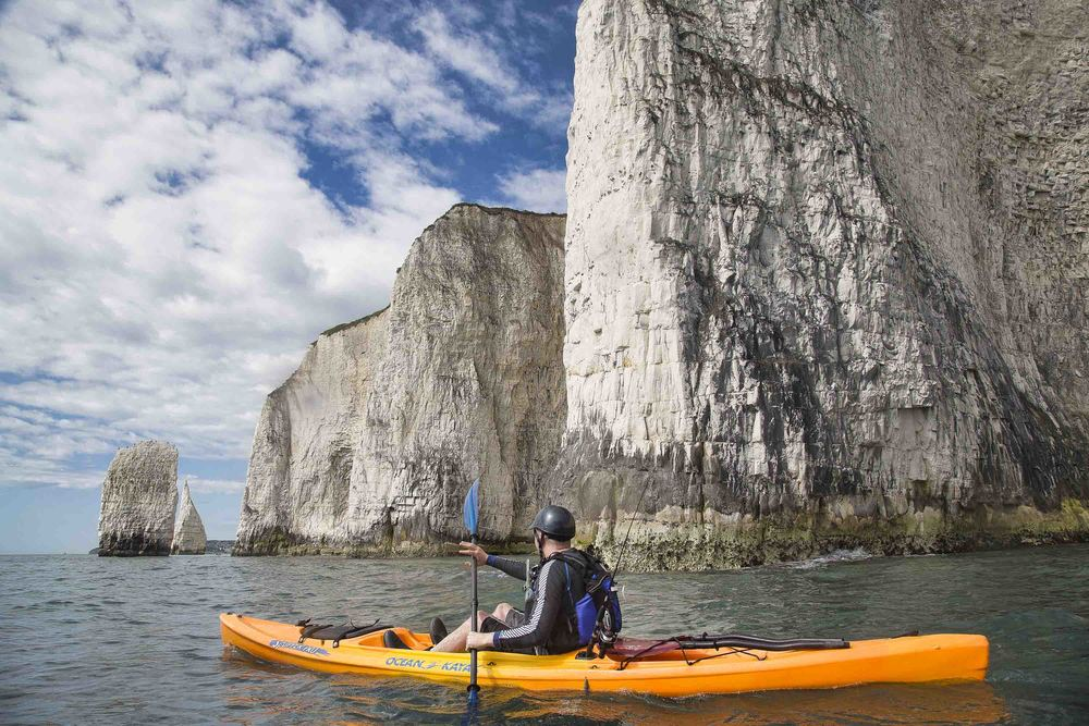 kayak fishing and foraging in dorset