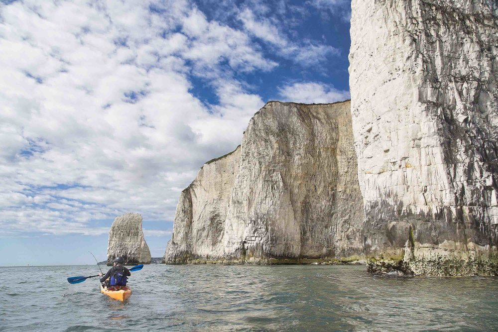 kayak fishing at old harry rocks with fore / adventure