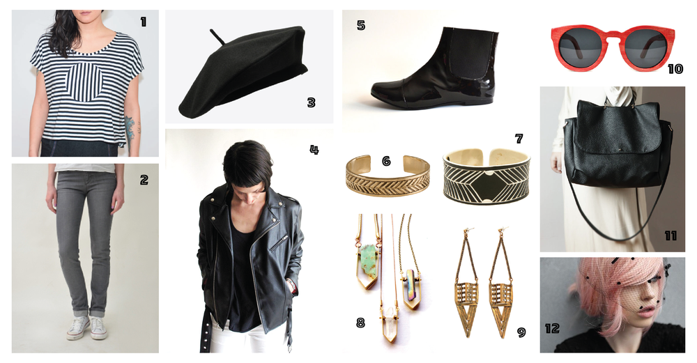 1. Crop Circle Tee by Sara Bergman • 2. Grey Denim Peanut Jeans by Monkee Jeans • 3. Faux Wool Parisian Beret by Askidas • 4. Junkie Slip Jacket by James Payne • 6. Vegan Patent Leather Chelsea Boots by Golden Ponies6. Deadvlei Gold Cuff by The Base Project • 7. Skeleton Coast Cut by The Base Project • 8. Choose Your Own Crystal Necklace by Beach Bones Jewelry • 9.Cage Earrings by Sanktoleono • 10. Red Maple Wood Sunglasses by Tmbrwood • 11. Black Vegan Satchel by Raramodo 12. Pastel Pink Vegan Hair Colour by Vegan Cosmetics  Image Source & Credit: Listed Above.