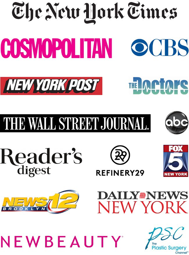 A selection of the media outlets that have featured Dr. Joshua Zuckerman, MD, FACS including The New York Times, The New York Post, Cosmopolitan, The Wall Street Journal, ABC, The Doctors TV Show, CBS, Refinery29, Fox5, News12, New Beauty Magazine, The Plastic Surgery Channel, and more..