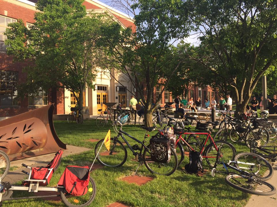 Photo Courtesy of City of Ames.  Several people attended the Bike to Work breakfast on Monday, May 15.