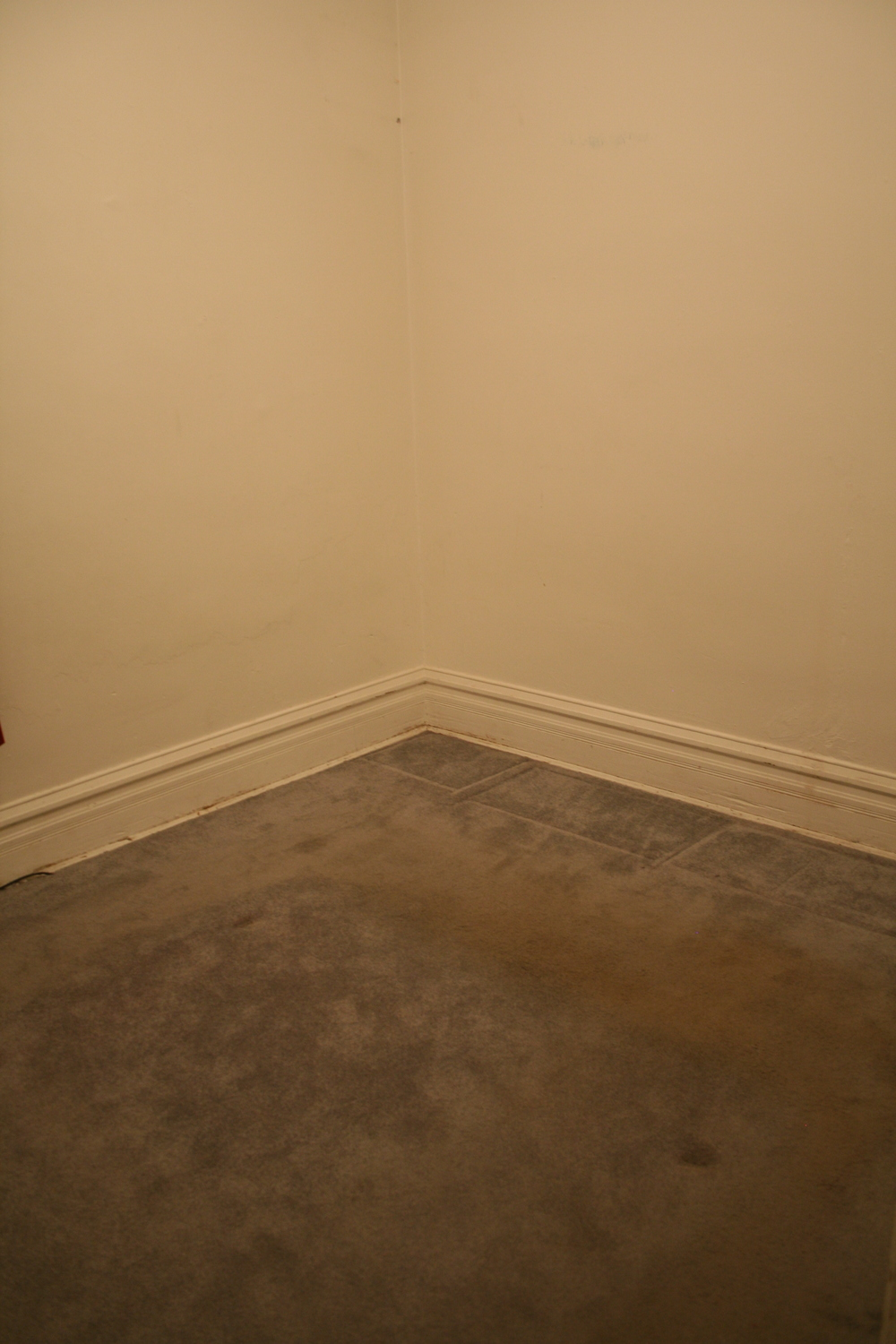 This is the little bedroom on the first floor, here with its carpet telling us all about how the before family walked around their bed and on the way to their closet. Carpets  ≠ secret keepers.
