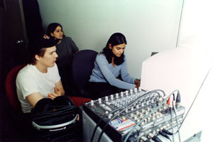 Director Ethan Hawke working with student Deepa Donde on class project Chelsea Walls.