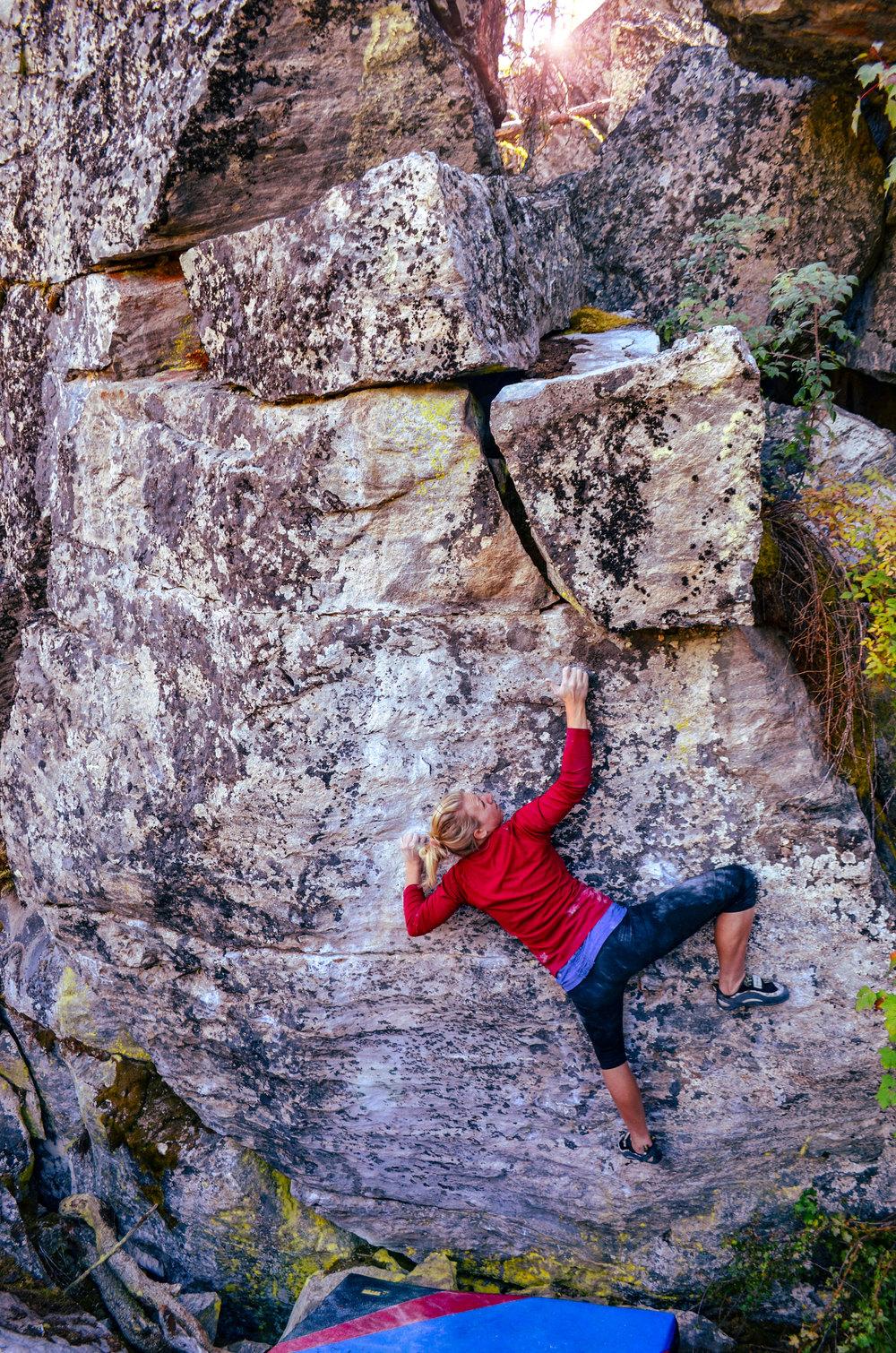 Staci White climbing  Masterbeta (V6)