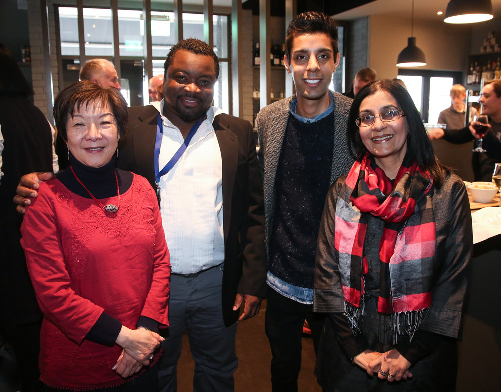 Intercultural Shakespeare - Anna Lo with Joseph Ricketts of ACSONI, one of our four Belfast Tempest partners, and guests Krishen and Nisha Tanden, attending Terra Nova's Belfast Tempest on the 400th Anniversary of Shakespeare's death.