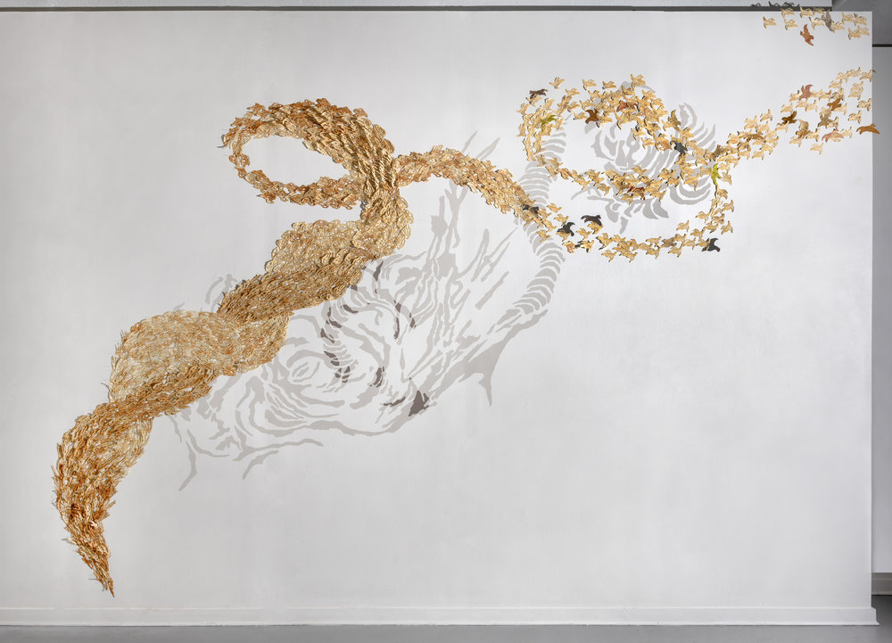 Instinctive Navigation   Burned and laser cut paper, wax, entomological pins, acrylic paint  16 feet x 20 feet