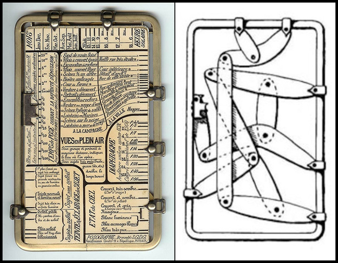 Kaufmann's Posographe - (L) The side for calculating exposures outdoors.  For indoor photography just flip it to the other side to see a completely new set of the appropriate variables.  (R) The diagram of interior levers.