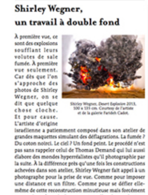 "Roxana Azimi, ""Shirley Wegner: un travail a' double fond,"" Le Quotidien No. 495, 28 November 2013"