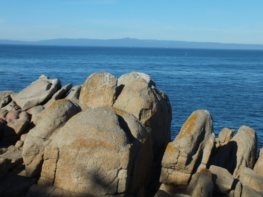 View of Sana Cruz Mountains across Monterey Bay from Lovers Point, Pacific Grove