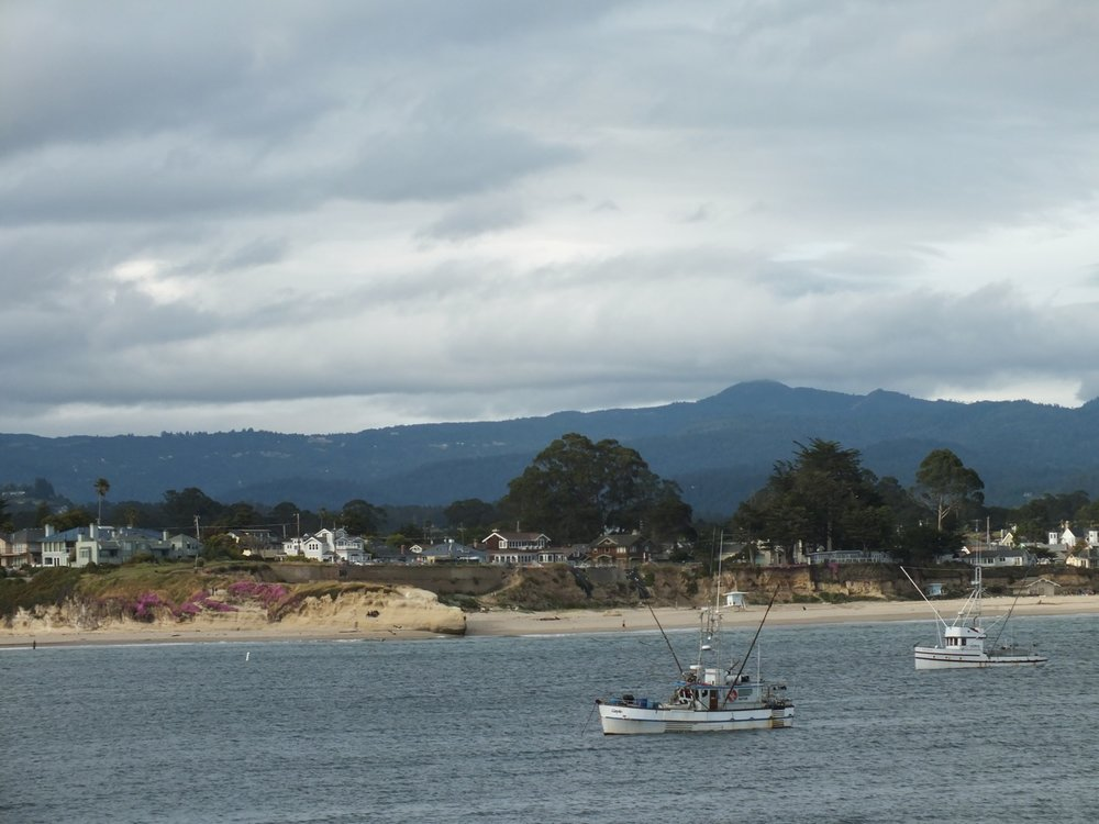 Loma Prieta with fishing boats from Sanat Cruz area