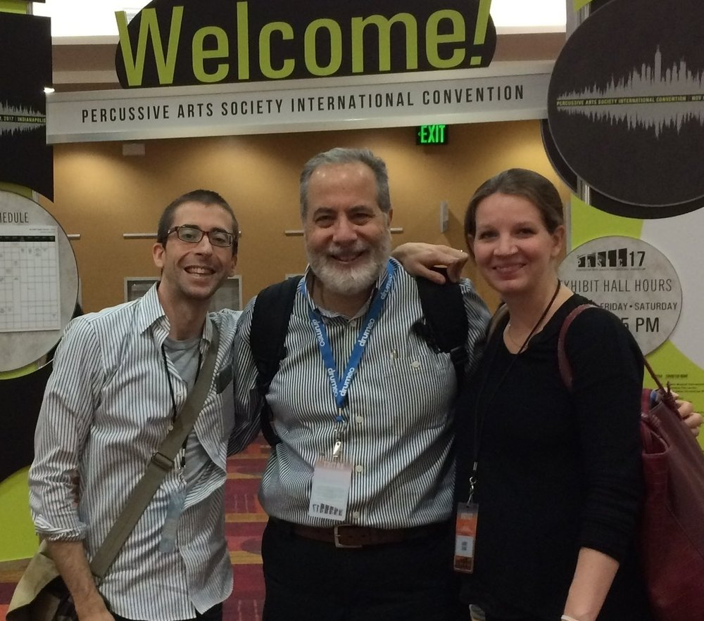 Michael with Laurel Black, co-researcher,  percussionist, and JMU professor, and Casey Cangelosi, renowned percussionist, composer and JMU professor. Laurel and Michael presented the findings of their landmark study Mental Performance Styles of World-Class Percussionists at the Percussion Arts Society International Convention.