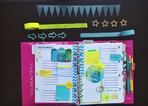 FILOFAX PLANNING PAGES WEEK 33 CAPTURE THIS BLUE AND GREEN