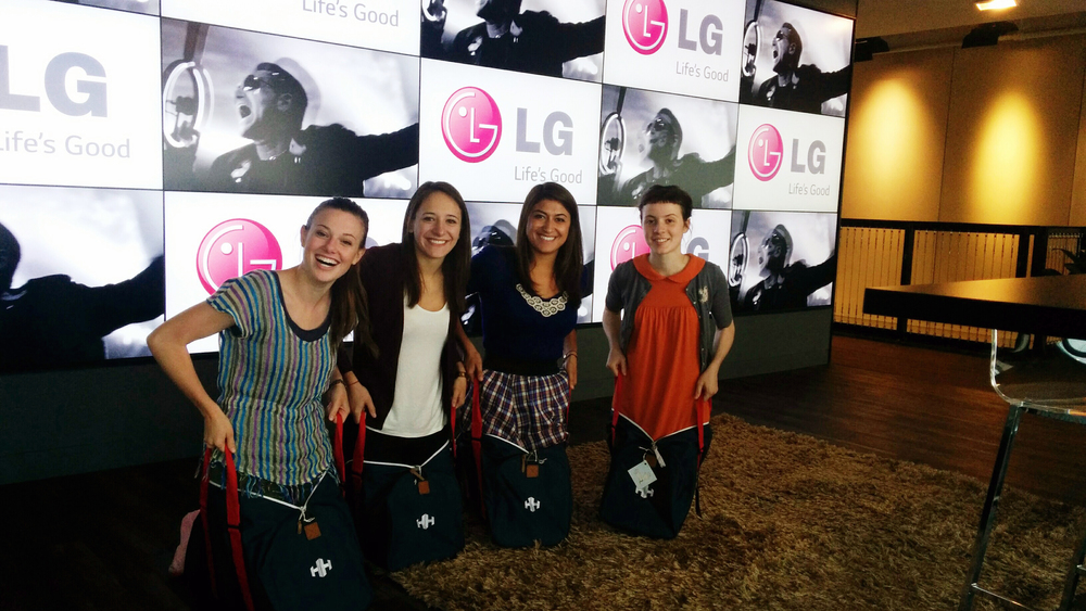 The four of us inside our new duffle bags (don't mind Megan and Nico)...