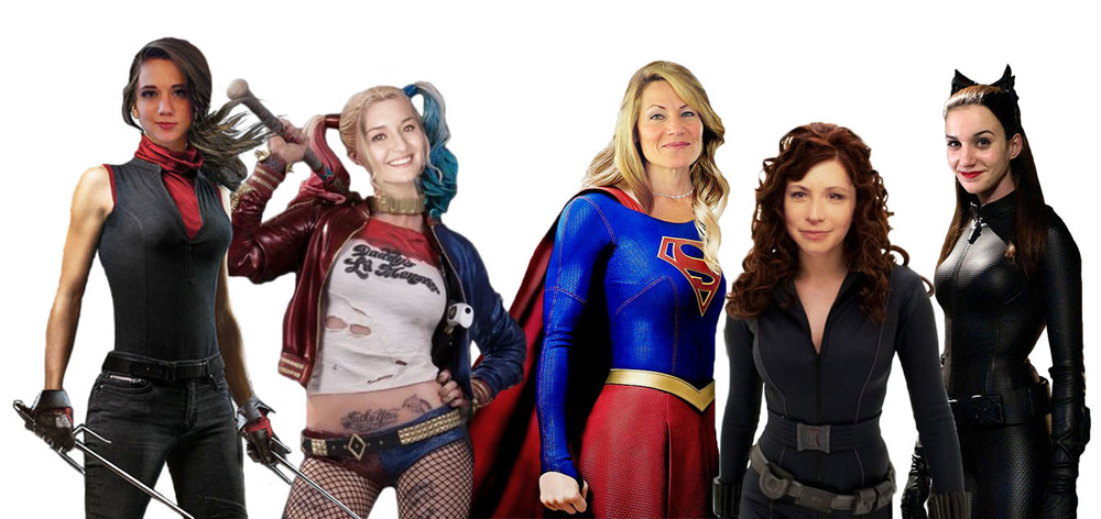 Left to Right: E-Bektra, Hayley Quinn, Karen Kaplan, Raph Widow, Kat Woman. Masterpiece by Raphaela Putz