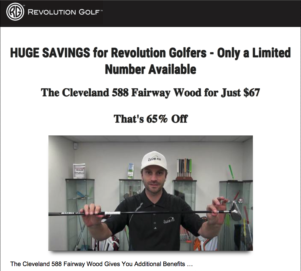 Landing page copy for a fairway wood produced by Cleveland Golf.